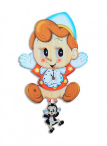 Wall Clock, with moving eyes, Pinoccchio / Bartolucci