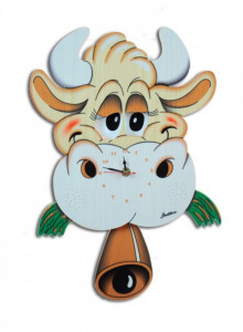 Wall Clock, with moving eyes, Cow / Bartolucci