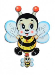 Wall Clock, with moving eyes, Bee / Bartolucci