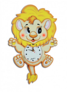 Wall Clock, with moving eyes, Lion / Bartolucci