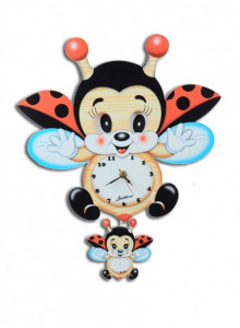Wall Clock, with moving eyes, Flying Ladybird / Bartolucci