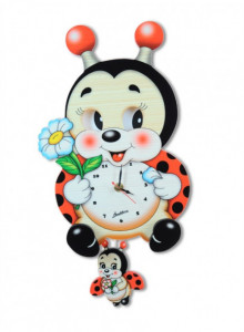 Wall Clock, with moving eyes, Ladybird / Bartolucci