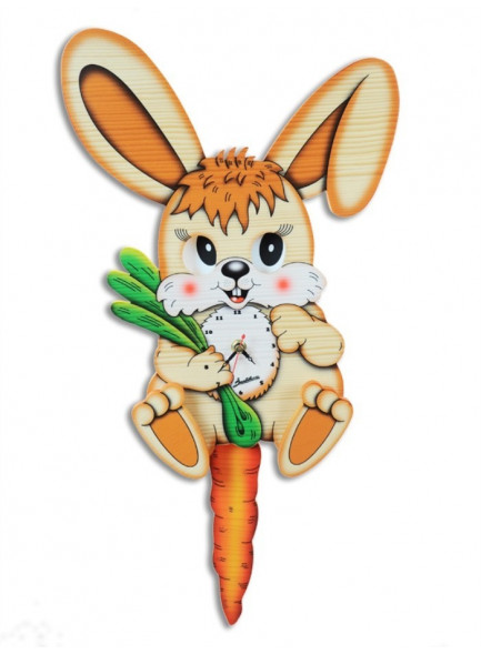 Wall Clock, with moving eyes, Rabbit / Bartolucci
