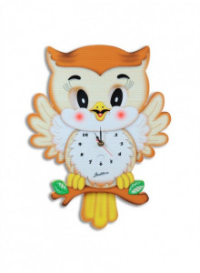 Wall Clock, with moving eyes, Owl / Bartolucci