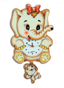 Wall Clock, with moving eyes, Elefant / Bartolucci