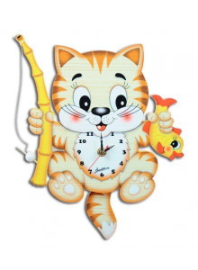Wall Clock, with moving eyes, Fishing Cat / Bartolucci