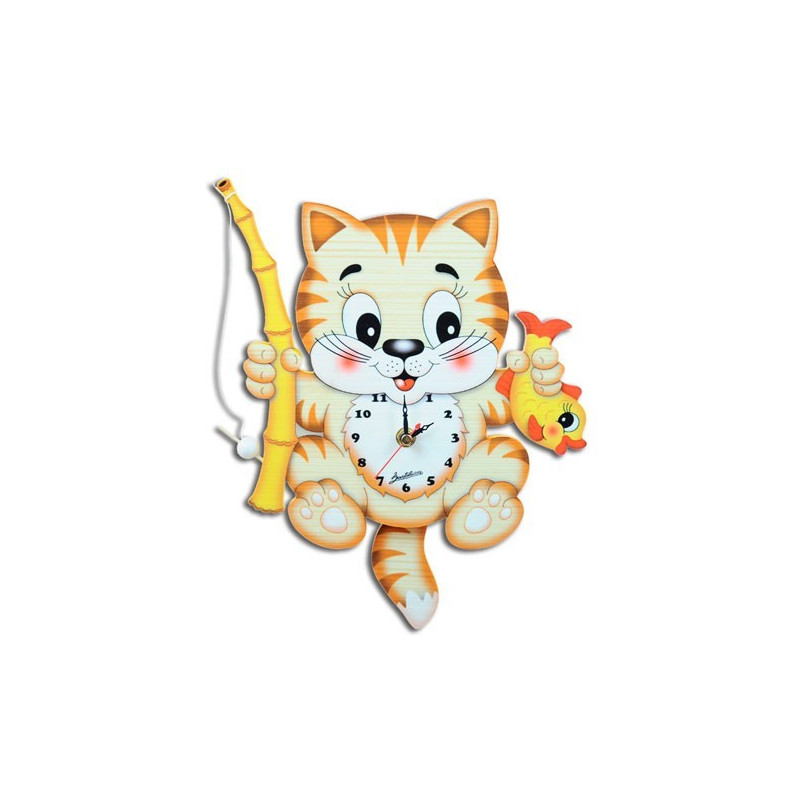 Wall clock with moving eyes fishing cat bartolucci for Moving fish for cats