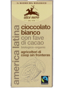 Chocolate, white, with cocoa beans, 100g / Alce Nero