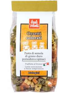 Teddy bear pasta with spinach and tomato, 250g / Baule Volante