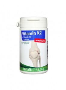 K2 vitamiini kapslid D3 ja kaltsiumiga, 60tk / Medicura