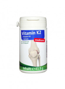 Vitamin K2 with Vitamin D3 and Calcium, 60 capsules / Medicura