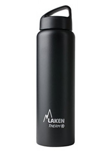 Wide mouth Stainless steel thermo bottle, black, 1L / Laken