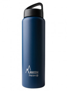 Wide mouth Stainless steel thermo bottle, blue, 1L / Laken