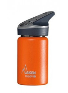 Wide mouth Stainless steel thermo bottle with sport cap, orange, 350ml / Laken