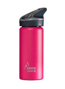 Wide mouth Stainless steel thermo bottle with sport cap, pink, 500ml / Laken