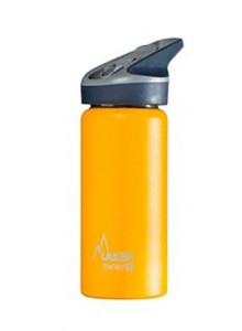 Wide mouth Stainless steel thermo bottle with sport cap, yellow, 500ml / Laken
