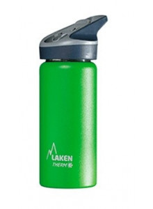 Wide mouth Stainless steel thermo bottle with sport cap, green, 500ml / Laken