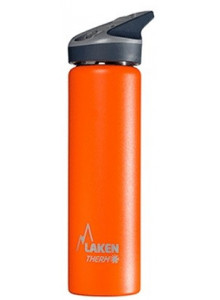 Wide mouth Stainless steel thermo bottle with sport cap, orange, 750ml / Laken