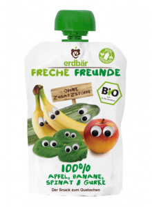 Squeezy pouch: apple, strawberry, blueberry, raspberry, 100g / Erdbär