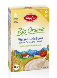 Wheat semolina cereal, apple-banana, 175g / Töpfer
