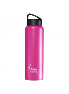 Wide mouth Stainless steel thermo bottle, pink, 1L / Laken