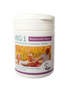 VEG 1 MULTIVITAMIN CHEWABLE TABLETS, BLACKCURRANT FLAVOUR, 90PCS / The Vegan Society