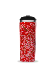 Insulated Stainless Steel Travel Mug, Red Flowers